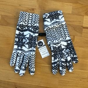 NWT Land's End Fleece Gloves- White/Navy